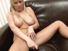 Blonde with a gorgeous bust fucks her slit with a toy