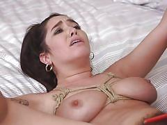 bdsm, babe, punishment, busty, brunette, hairy pussy, from behind, electric wand, rope bondage, sex and submission, kink, derrick pierce, karlee grey