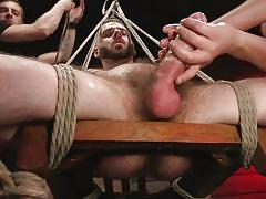 Naked and tied to a chair