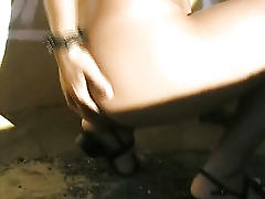 Hot college slut strips and masturbates in public