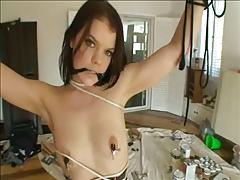 Kinky brunette hottie tied up and fucked in fishnets