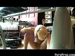 Hot blonde caught stripping and masturbating at the office