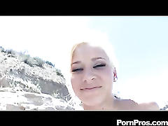 Superb blonde fucked and jizzed on outdoors