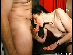 Hairy french milf gets anal fucked and facialized in 3some