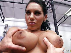 Big tits babe getting fingered and slapped