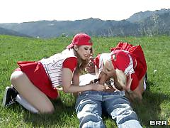 Two very hot babes outdoors