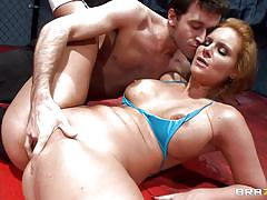 A horny threesome wrestling fuck!