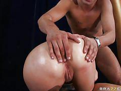 Sexy ass blonde gives head while fingered in the ass