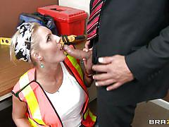 milf, blonde, big tits, office, blowjob, construction worker, zoey holiday, ramon, big tits in uniform, brazzers, jugg cash