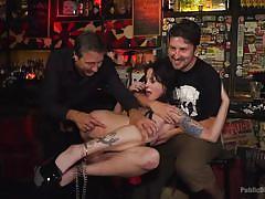 Brutal orgy in a crowded bar