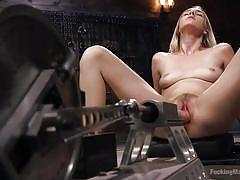 small tits, orgasm, blonde, babe, solo, fucking machine, hairy pussy, fucking machines, kink, cadence lux