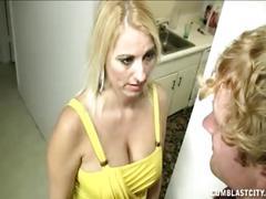 Blonde milf facial
