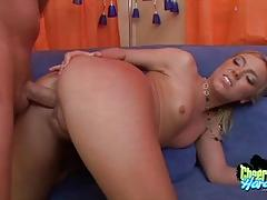 Sexy cheerleader babe roughed fucked