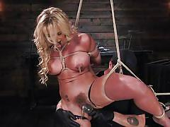 Sexy milf gets punished after suspending upside down