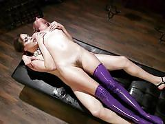 Sexy blonde babe getting fucked by a brunette tranny
