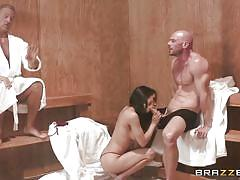 Getting sucked at the sauna by partner's wife