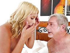 Slim white blonde sucking old man's dick @ horny old men