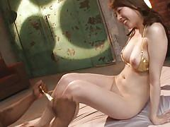 Asian babe in between two back men