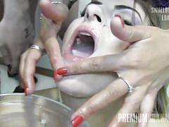 Milena swallows 50 huge mouthful cum loads
