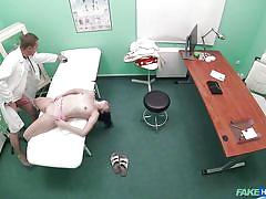 Cassie fire examines the doctor's cock with her mouth and pussy