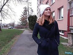 Redhead teen sucks on a thick cock