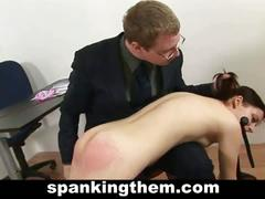 Teacher spanked naught young brunette student