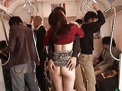 Horny asian milf sucking cock in a train