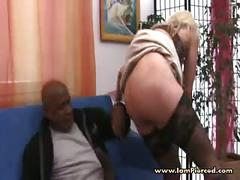 Heavy pierced milf marina riding big black cock in stockings