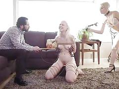 Angry stepmom punishes chloe cherry in this hot bdsm threesome