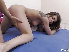 babe, live show, brunette, tattooed, cowgirl, from behind, riding cock, pussy eating, sideways, boobs groping, immoral live, porno dan, renata fox