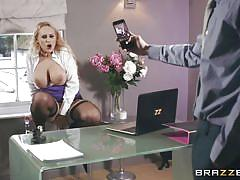 milf, blonde, big boobs, dildo, caught masturbating, fingering, in office, big tits at work, brazzers network, danny d, angel wicky