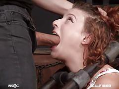Redhead cutie getting throated
