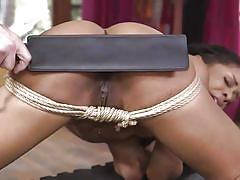 bdsm, babe, ebony, interracial, rimjob, punishment, from behind, submission, ball gag, rope bondage, paddling, sex and submission, kink, tommy pistol, kira noir