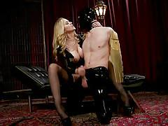 Busty blonde wants to humiliate, punish & use her sex slave
