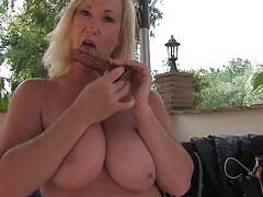 blonde, big tits, mature, outdoor, solo, masturbation, dildo, bbw, mature nl, melody charm