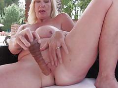 Old blonde masturbates