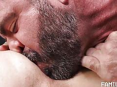 bareback, rimjob, blowjob, from behind, anal, stepdad, bearded, family dick