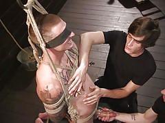 bdsm, handjob, nipple clamps, rope bondage, blindfolded, threesome, blowjob, tattooed, men on edge, kink men, dane stewart
