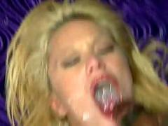 Swallowing huge loads of delicious sperm