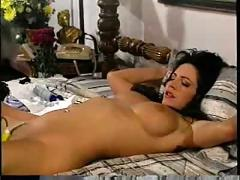 Luscious brunette lesbians work each others pussies