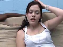 Cute regular brunette enjoys 2 big black dicks! please comment...