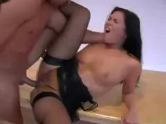 Beautiful brunette table fucked