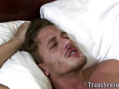 Trans babe fucks guys ass film