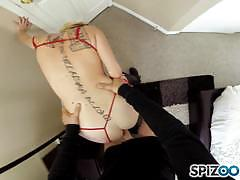 Pov style blonde iris rose crammed hard in her clit slit