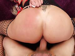 Nina elle bounces on a big cock