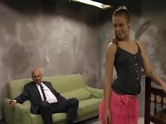 Brunette fucked by two old men