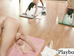 Yoga obsessed babes does it while naked with busty trainer