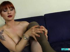 Redhead in pantyhose is full of surprises