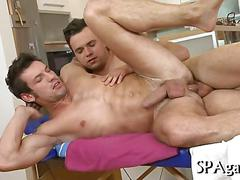 Stud gets his hairy ass fucked instead of enjoying a massage