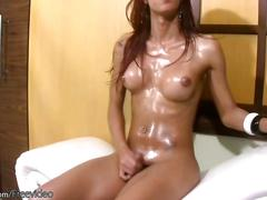 Glamorous t-babe massages incredible bigtits and wanks off